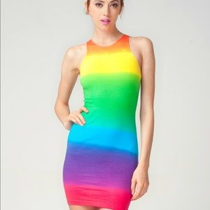 Rainbow color jersey dress from Motel rocks